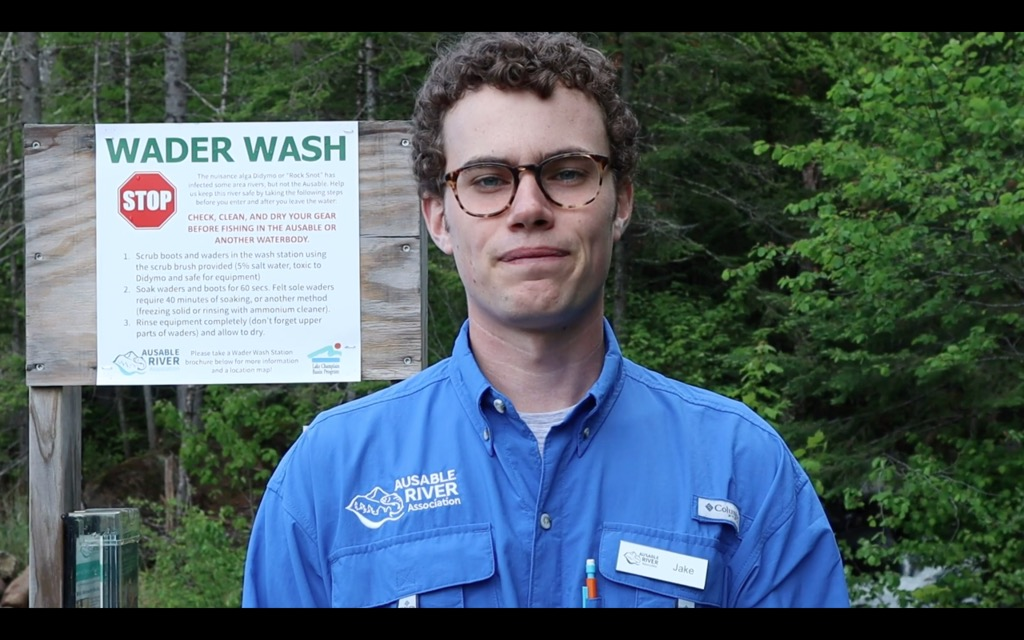 Jake Hill in front of an Ausable wader wash station