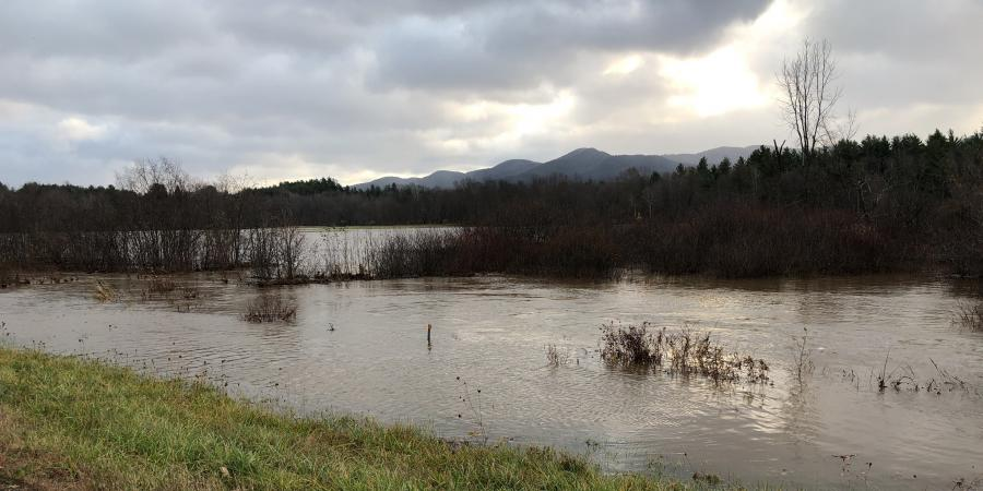 Ausable River using floodplain after storm event