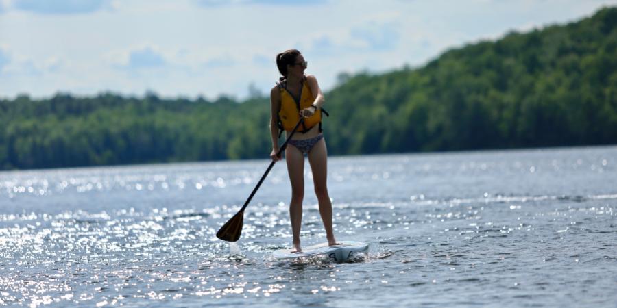Women stand up paddleboarding on small lake